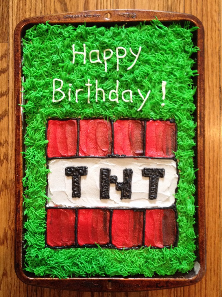 Minecraft TNT cake  For Dominicks 10th birthday March 1