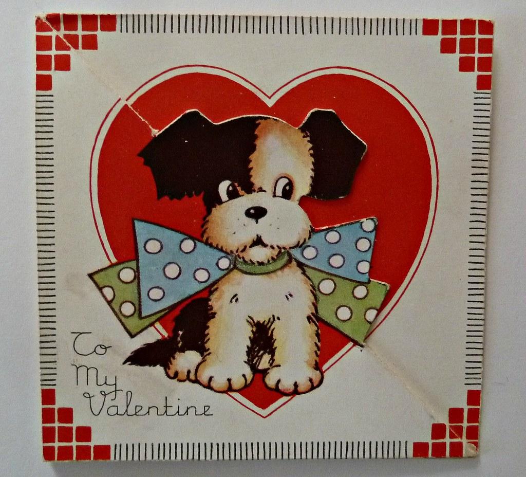 Vintage Valentine CardDog With Polka Dot Bow Tie Flickr