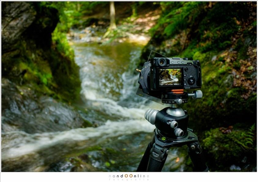 Fotograferen van wild water in de Ardennen; het gebruik in de praktijk, vanaf statief, met grijsfilters en grijsverloopfilters.