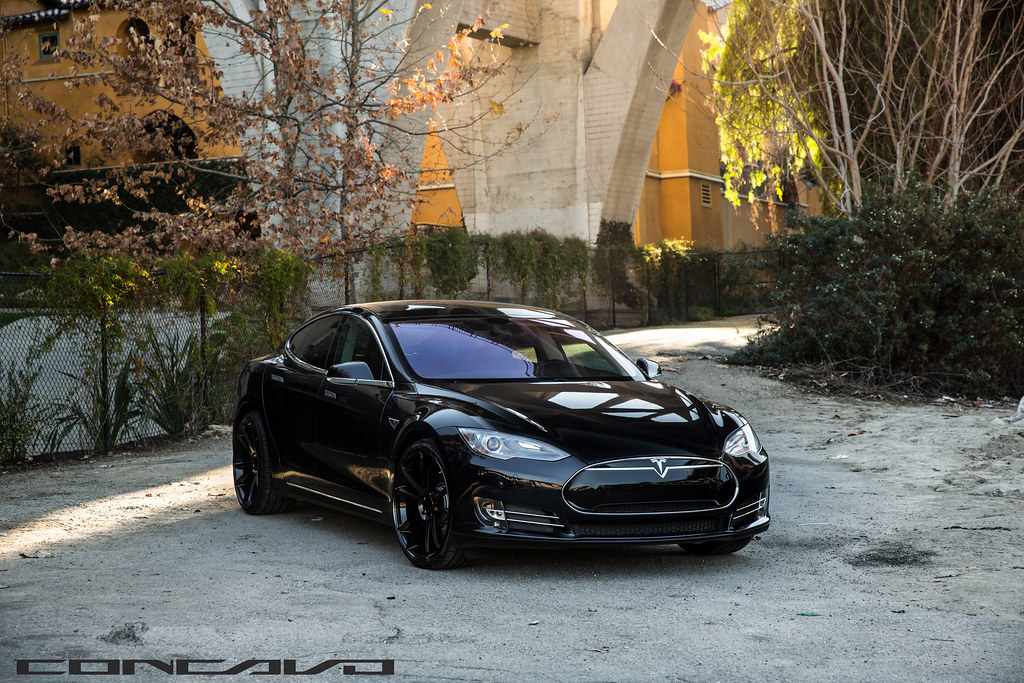 Tesla Model S on Gloss Black CWS5  wwwconcavowheelscom