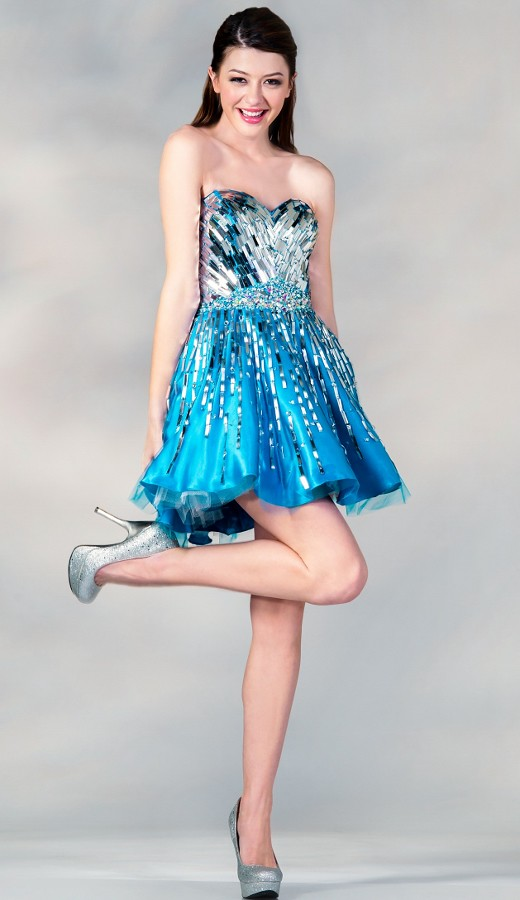 782 Blue Short Homecoming Dress  This is a cute and fancy