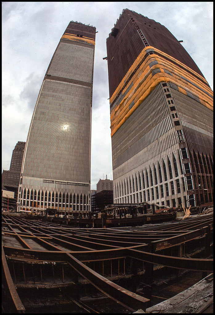 New York 1970 Construction Of The Twin Towers Scan From