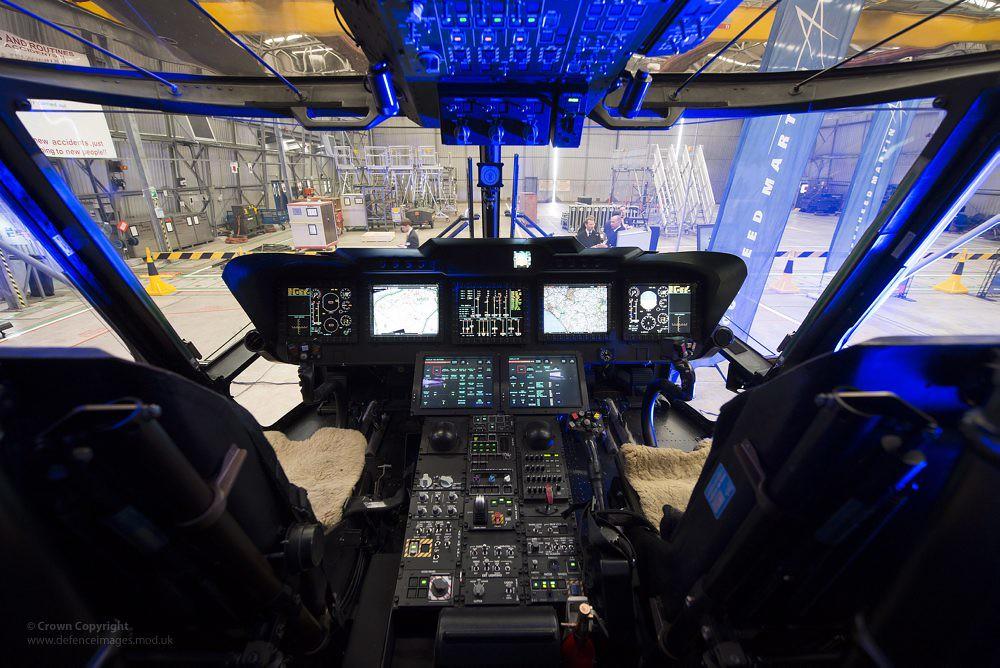 Cockpit Of Royal Navy Merlin Mk2 Helicopter Flight Deck