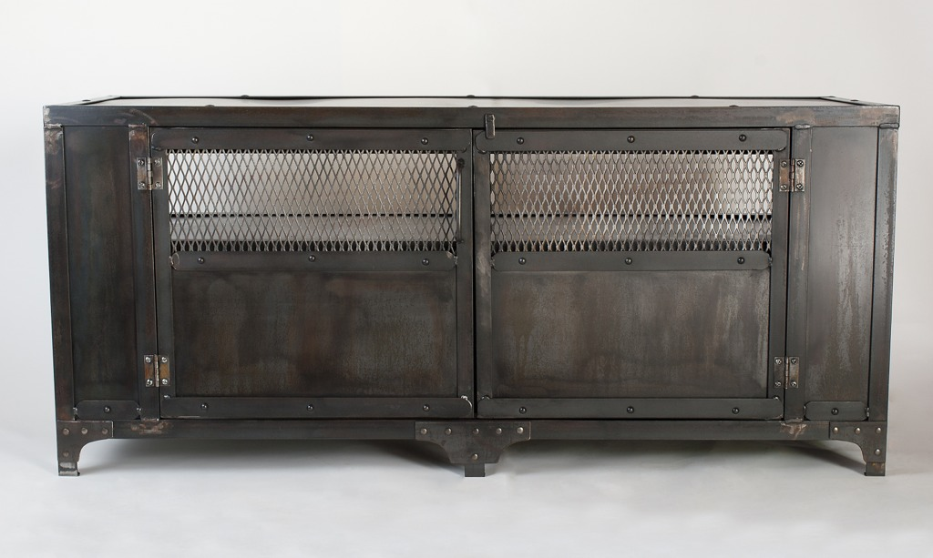 Custom Industrial Media Cabinet TV Stand Console Table