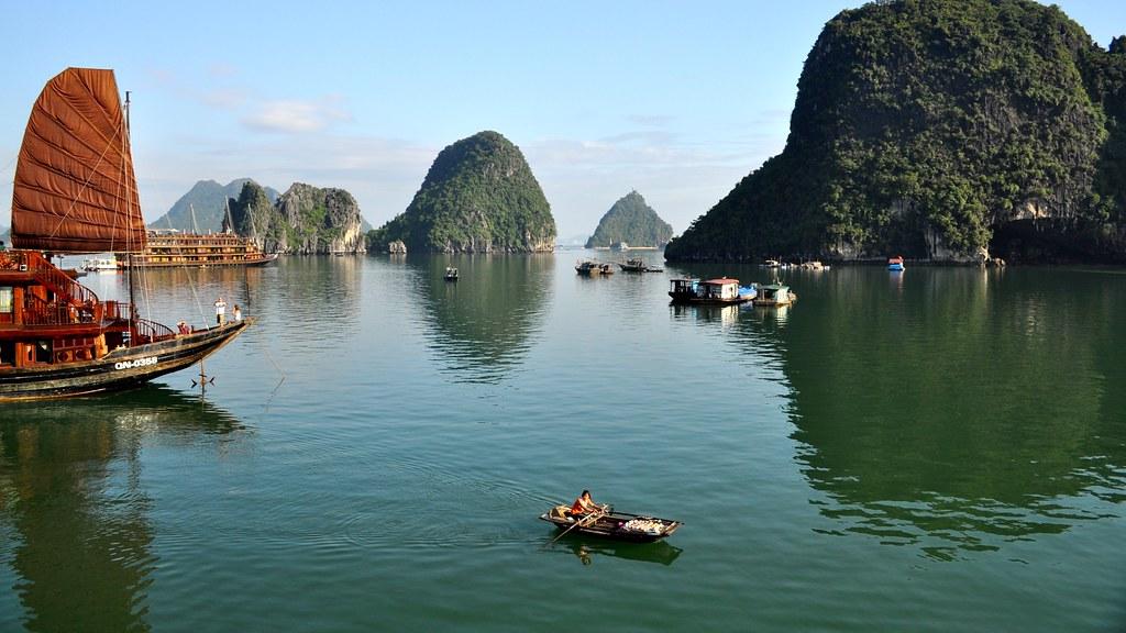 At anchor Ha Long Bay Vietnam  H Long Bay literally