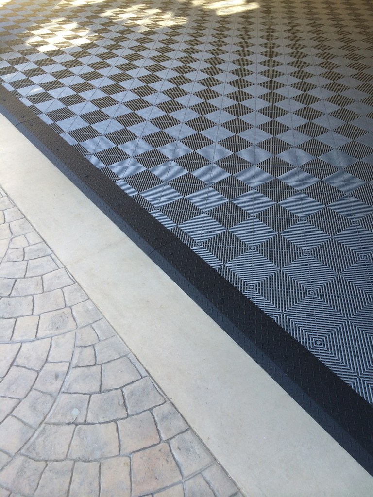 Garage Tile Flooring  Black Diamond Plate Transition Stri