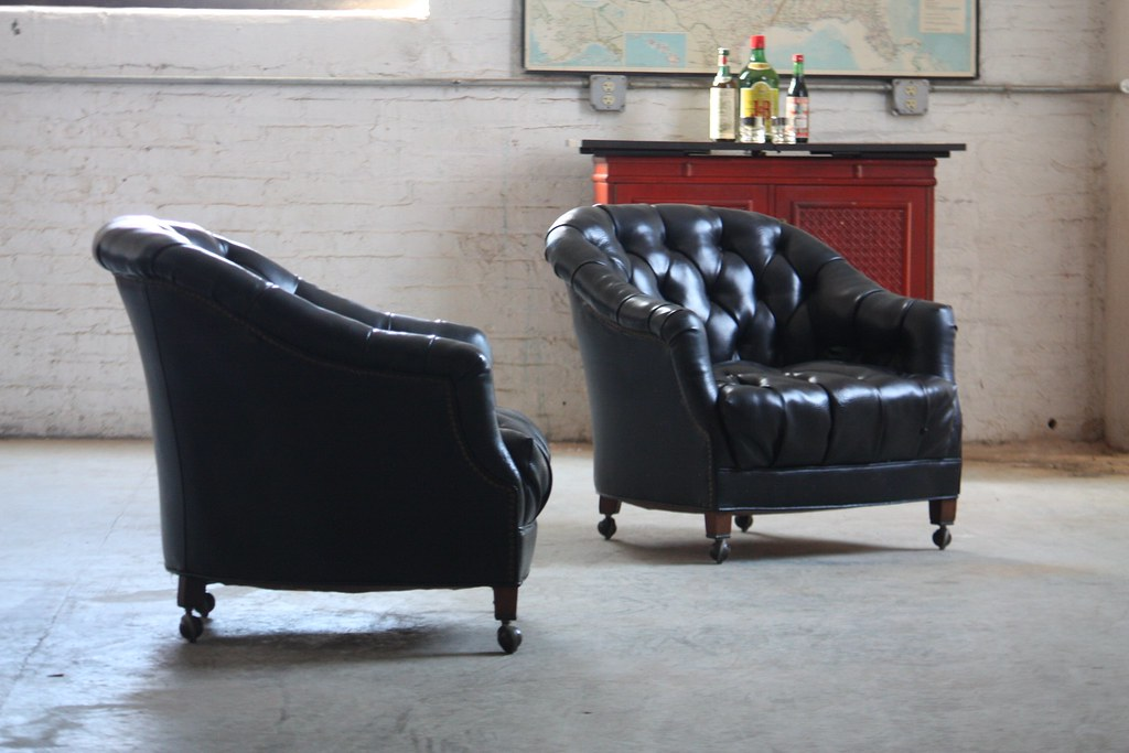 Silky Smooth Vintage Tufted Black Leather Club Chairs US