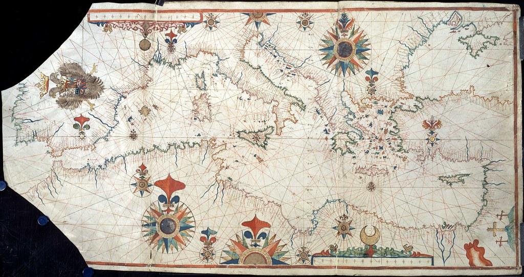 Mar mediterrneo carta nutica 15001600  Mediterrneo
