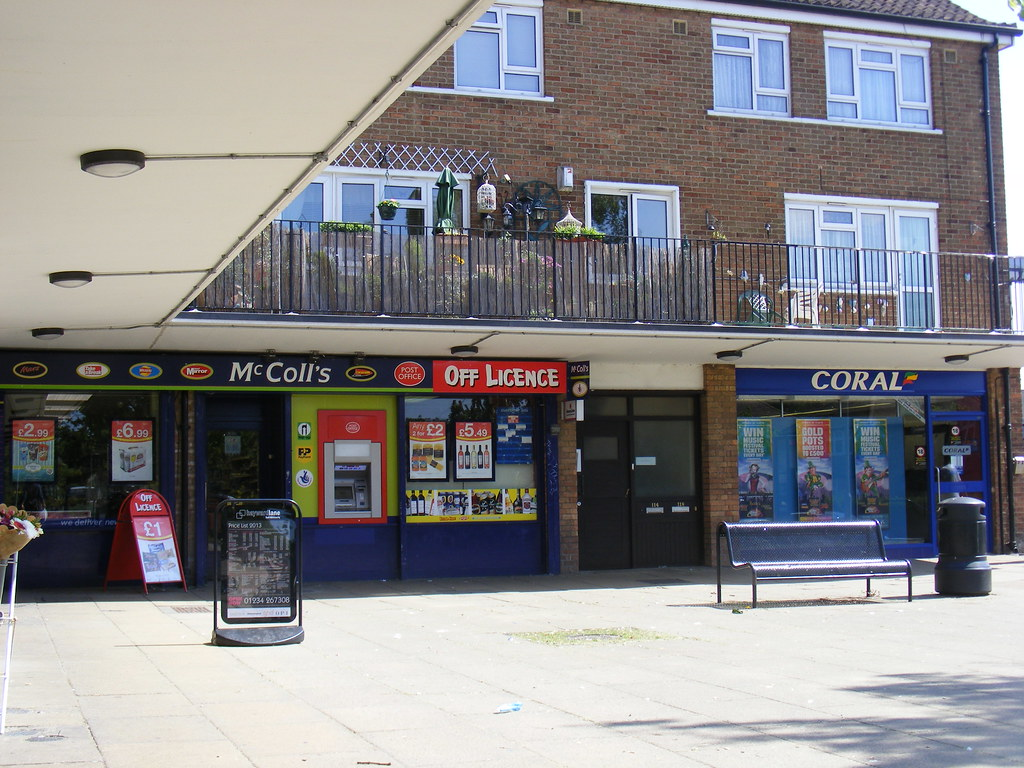 Queens Drive shopping parade and Post Office Putnoe Bedf
