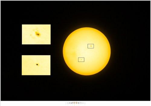 Het verschil tussen Mercurius en een zonnevlek is duidelijk te zien