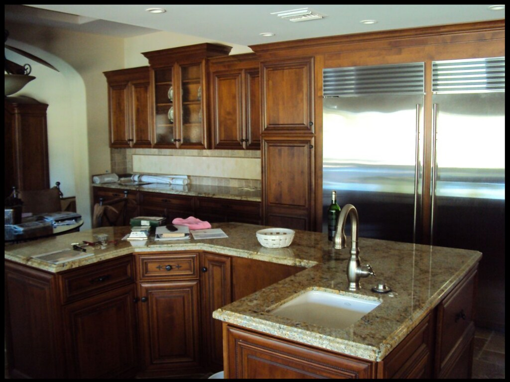 Full WrapARound Custom Kitchen Island Granite Countertop