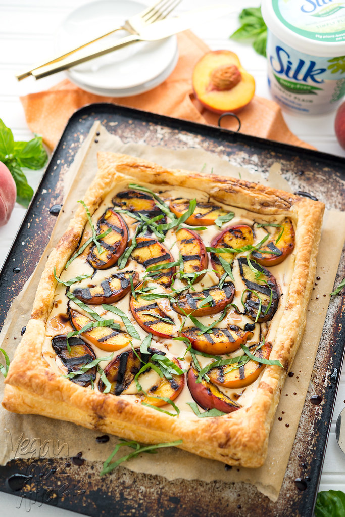 Grilled Peaches and Cream Pastry - Delicious, easy, and perfect for summer! #dairyfree #LoveMySilk #vegan
