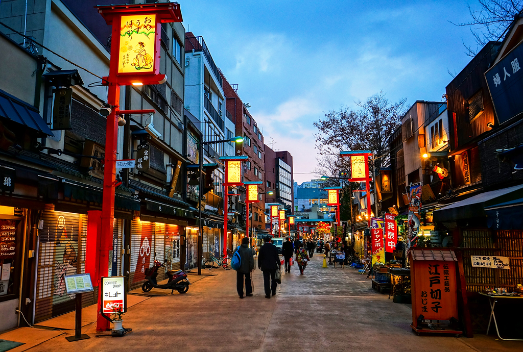Asakusa Denpoin Dori At Twilight In Tokyo Japan