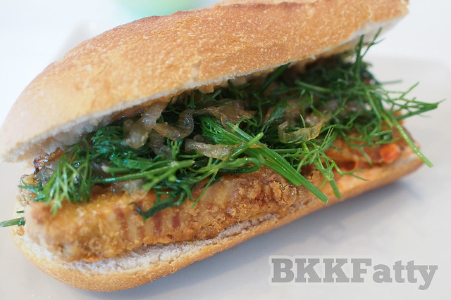 turmeric fried fish and dill sandwich