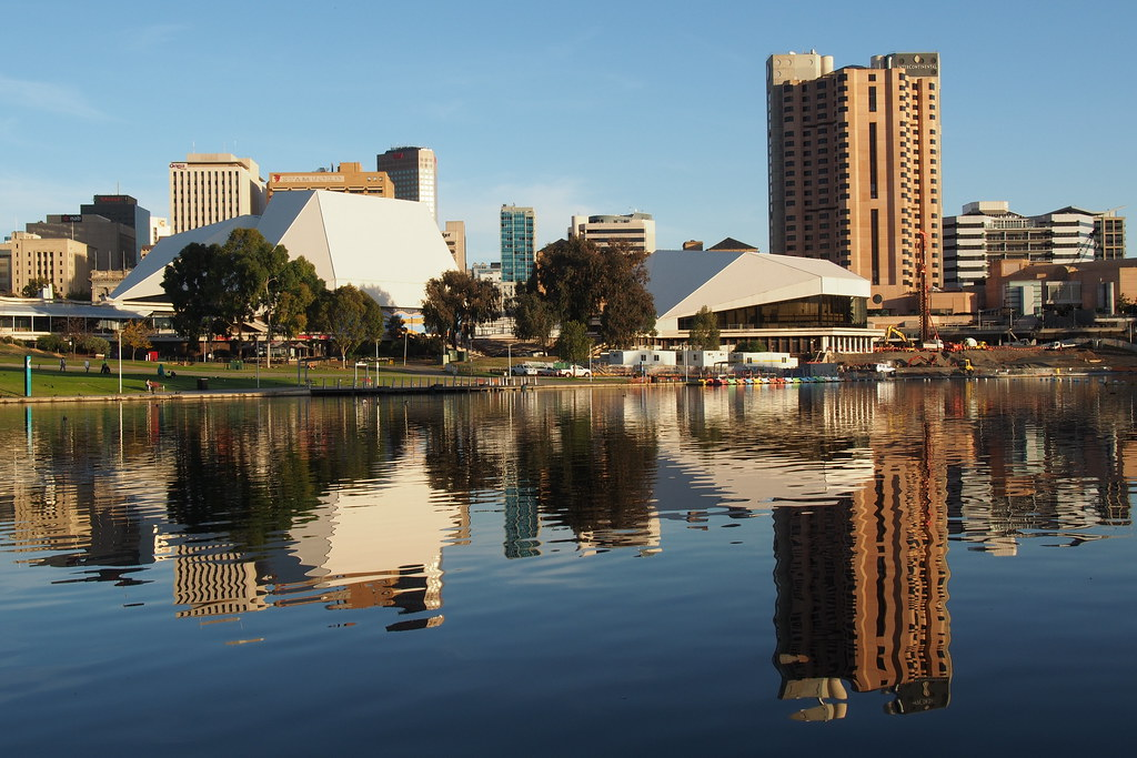 Adelaide skyline from the River Torrens north bank May 7  Flickr