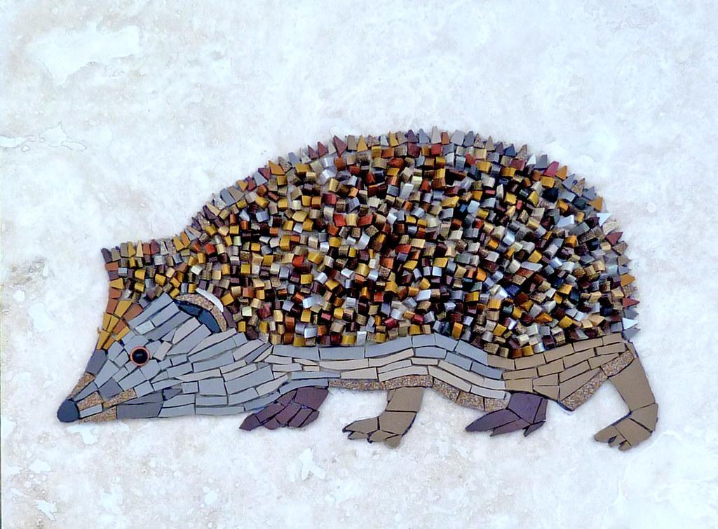 Hedgehog  This mosaic was made from unglazed ceramic onto