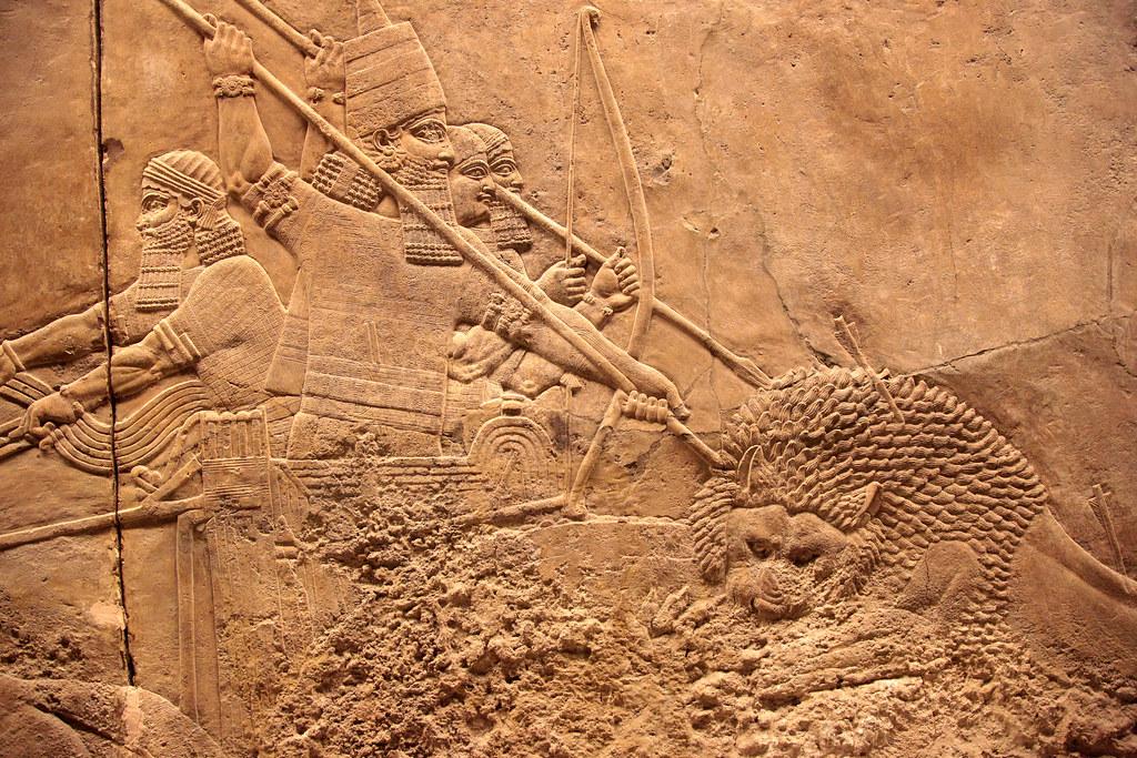 Assurbanipal a caccia di leoni Dett Bassorilievi su alab