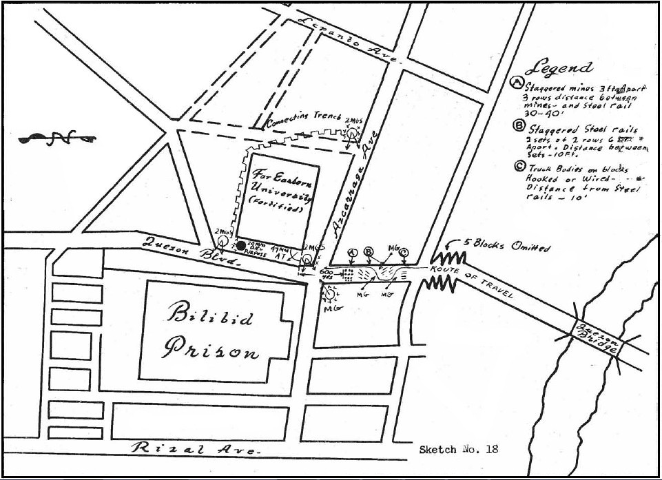 U.S. Army sketch of the map around Bilibid Prison