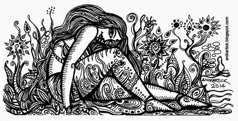 DOODLE GIRL DOODLE DRAWING DOODLE ARTWORK DOODLE PEN