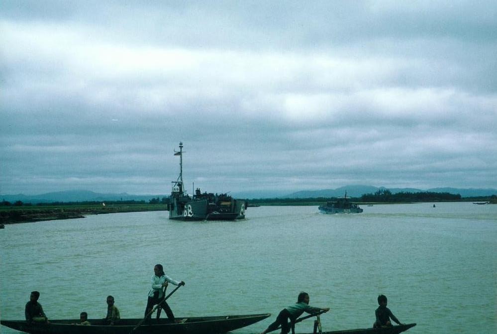 Navy Ships and Vietnamese Children Cua Viet River May 19