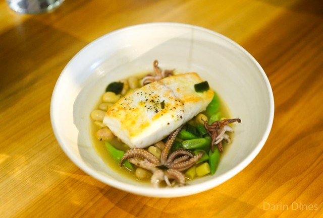 LOCAL HALIBUT WITH SQUID, POLE BEANS AND CURRIED BRAISSAGE