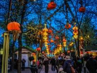 October Halloween at Tivoli Gardens entrance at night in C ...