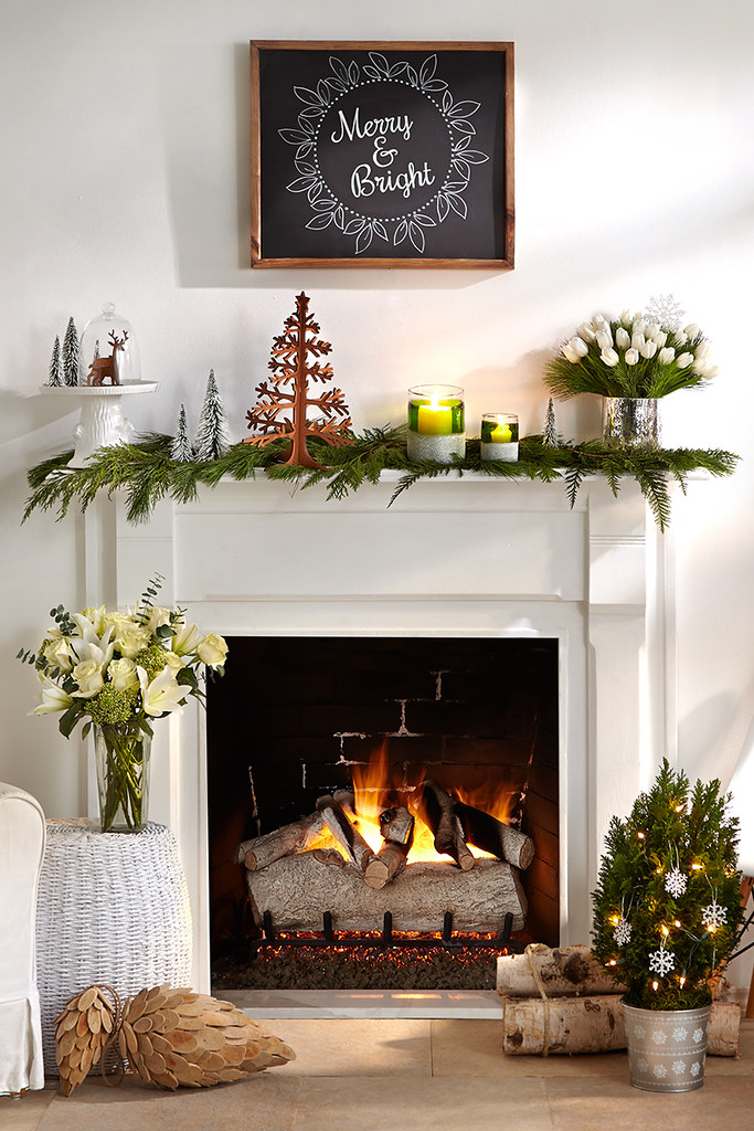 Ideas For Decorating A Fireplace Mantel Merry Mantel With Pine Cuttings A Christmas Tree Decoratio