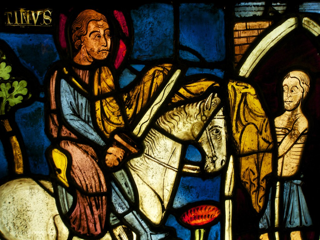 Middle Ages Stained Glass Portrait of an Armed Knight and