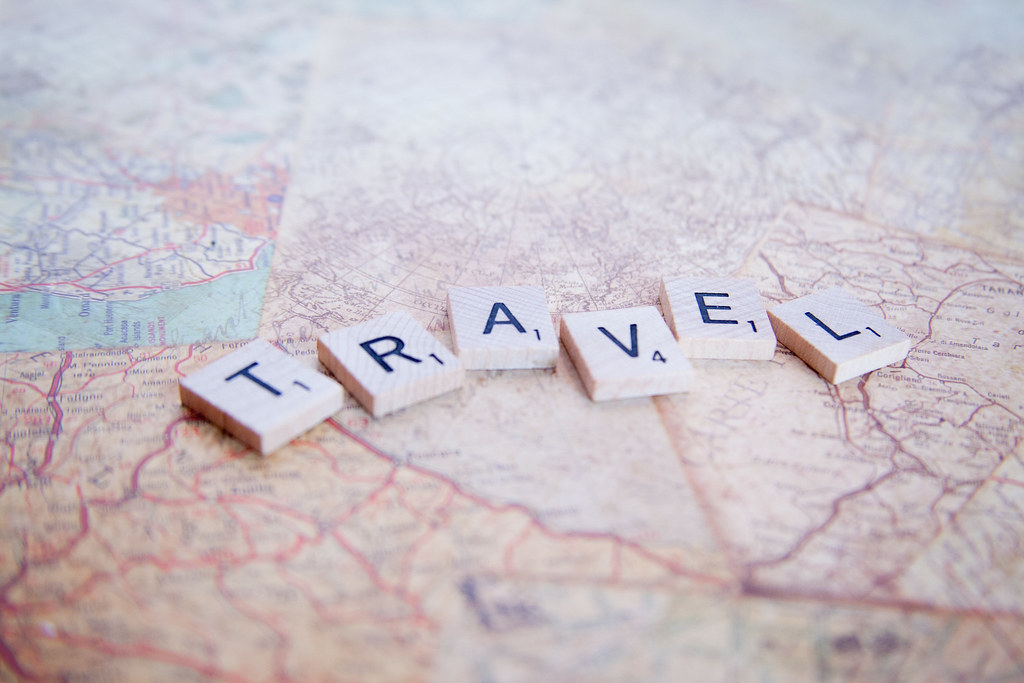 Travel Map Scrabble Letters Travel Spelled Out On A