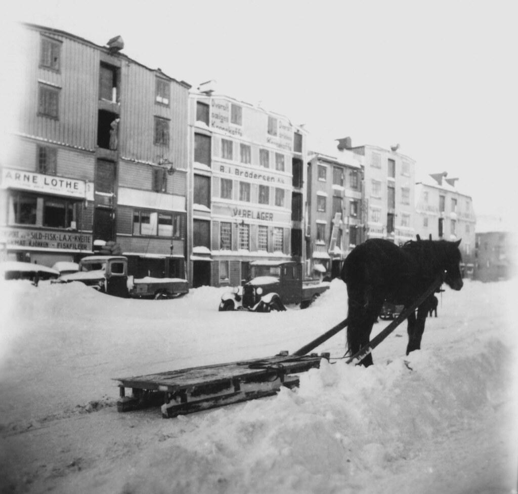 Bryggene i Fjordgata 1942  Format Svarthvitt fotopositi  Flickr