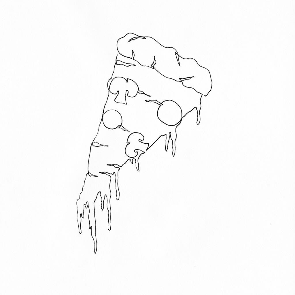 A Single Line Drawing Of A Pepperoni Mushroom Pizza Slice