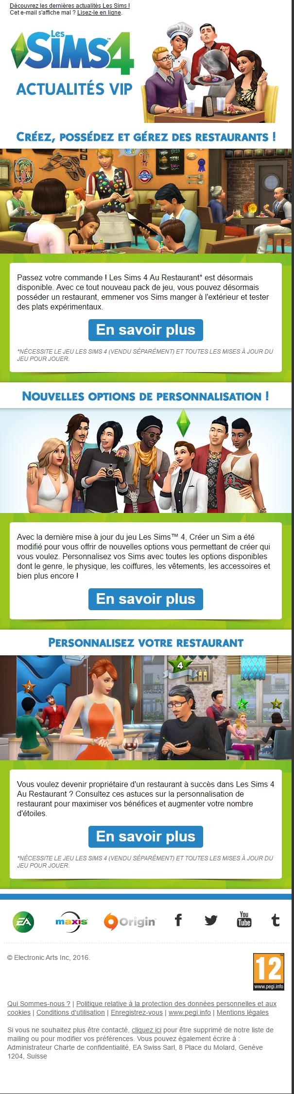 Les Sims 4 Newsletter - Juin 2016