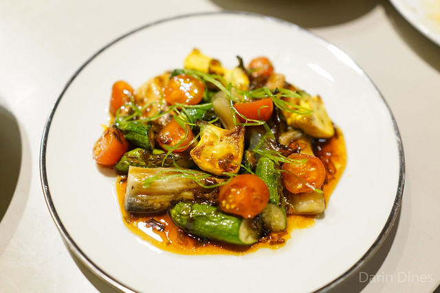 Roasted eggplant and squash, pickled tomatoes, scallion oil, fish sauce caramel