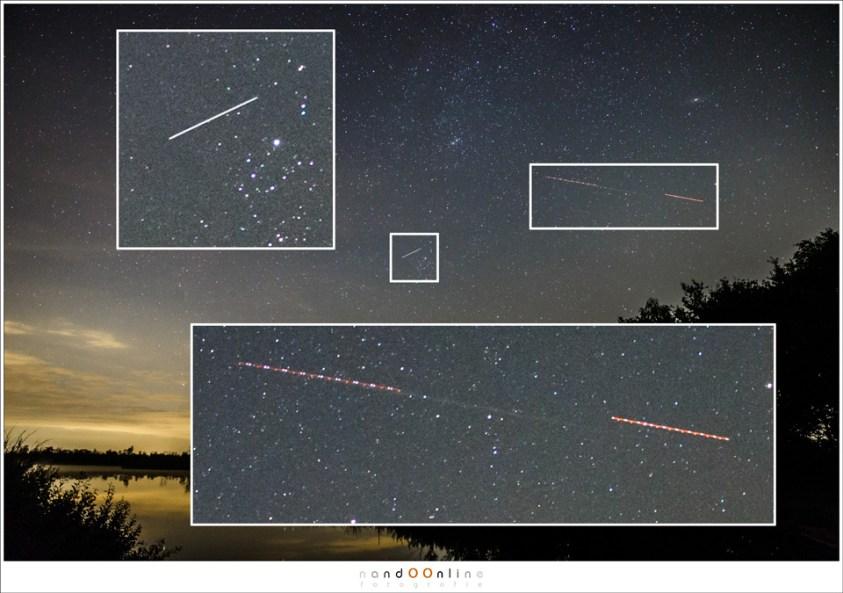 Het lijkt spectaculair, maar als je goed kijkt blijken het vliegtuigen en een satelliet te zijn.