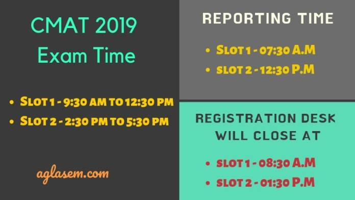 CMAT 2019 Exam time and reporting Time