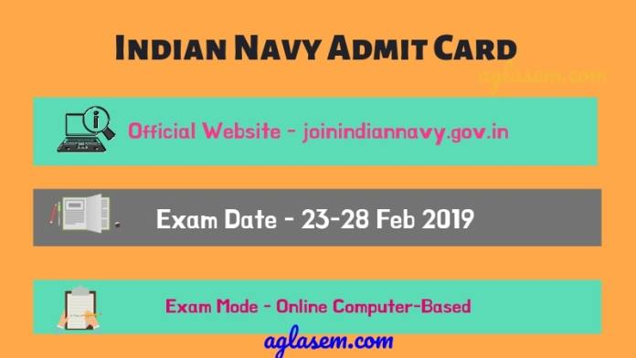 Indian Navy Admit Card 2019