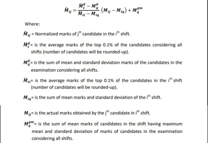 Formula to Normalize the marks in exam