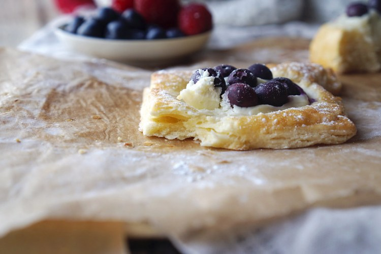 Gluten free cream cheese and blueberry Danish pastry made with a quick puff pastry alternative