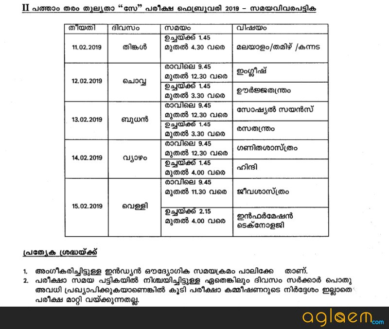 Kerala 10th Equivalency Time Table February 2019