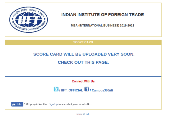 Inactive IIFT 2019 Result Link Available at iift.edu