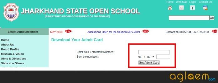Jharkhand Open School Secondary Admit Card 2019