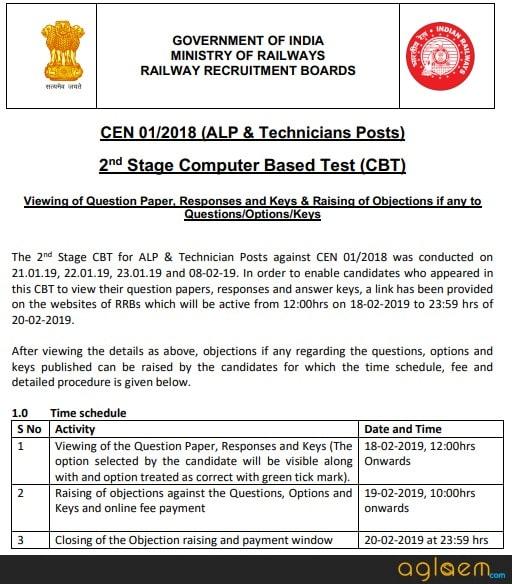 RRB ALP CBT 2 Answer Key Notice