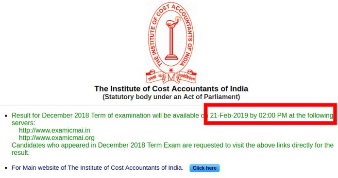 ICWAI (CMA) Result 2018 for December Exam
