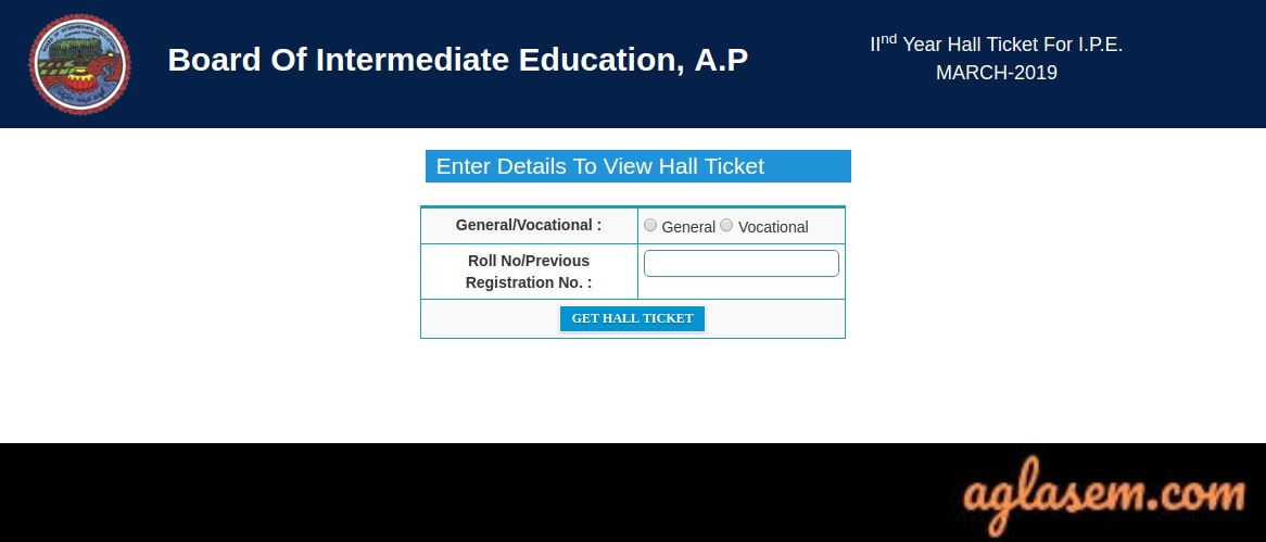 AP Intermediate Hall Ticket 2019