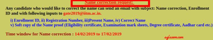 GATE 2019 Name Correction