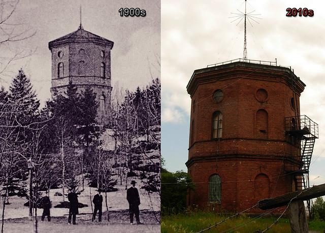 1900s водонапорная башня и 4 мужика - 2010е башня в погранотряде