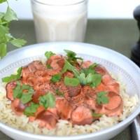 Bästa receptet på vegansk korvstroganoff