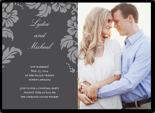 Floret Charcoal 5x7 Photo Wedding Announcement Cards