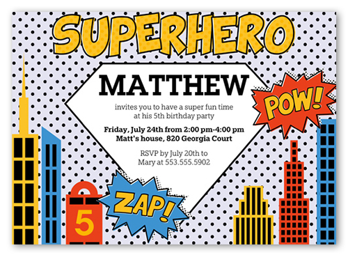 superhero 5x7 invite boy birthday invitations shutterfly