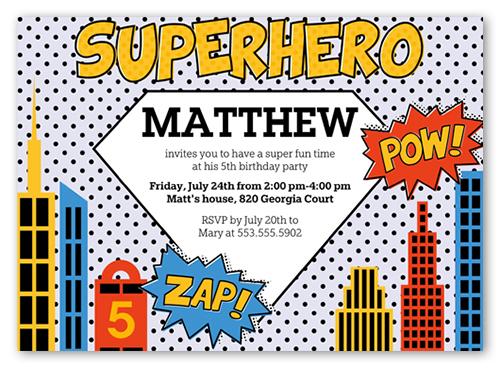 Superhero 5x7 Invite Boy Birthday Invitations Shutterfly